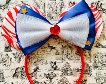 Cute Fourth of July Bow Tie inspired Red Zebra Print Minnie Mouse Headband Ears
