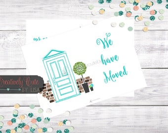 We've Moved|Front Door|New Home|Address Change|Moving Announcement|Printable Card|Moving Announcement|Housewarming Invitation|JPEG