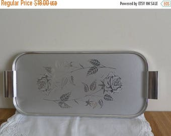 SALE: Rose Serving Tray - Brushed Chrome