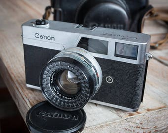 Vintage Canon Canonet 35mm Rangefinder Camera with Original Case and Strap