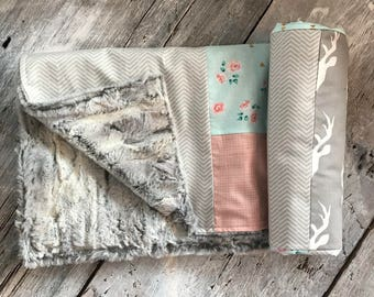 Baby crib blanket ,minky blanket, handmade quilt, quilted crib blanket, deers, vintage flowers, peach and beige