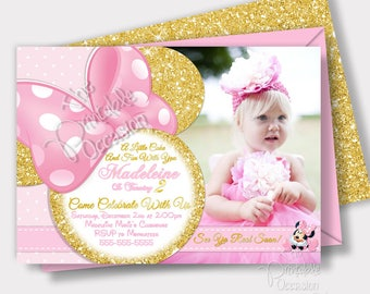Pink and Gold Minnie Mouse Invitation, Light Pink and Gold Glitter Minnie Mouse Invitation, Photo Invitation, Printable Invitation, Custom