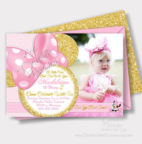 pink and gold minnie mouse invitation light pink and gold glitter minnie mouse invitation. Black Bedroom Furniture Sets. Home Design Ideas