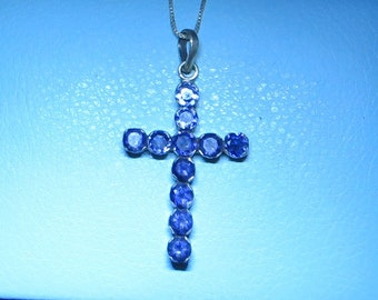 Silver and iolite cross necklace with 16 inch chain