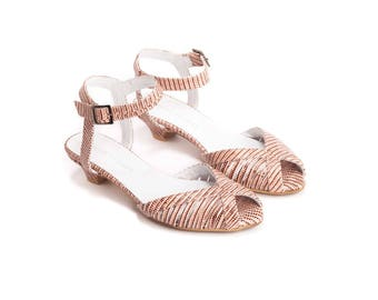 Pink Sandals, Strappy Sandals, Open Toe, Cut Out, Summer Sandals, Low Heel, Wedding Shoes , Brides Shoes , Handmade Leather Sandals