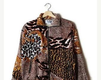 ON SALE Vintage Leopard/Animal print collage Windbreaker/Zip up Jacket from 80's*