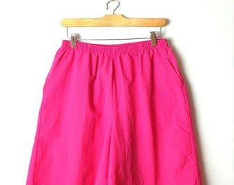 ON SALE Vintage Vivid Pink Flare easy  Shorts /W24-34*