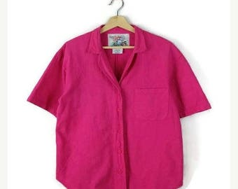 ON SALE Vintage Vivid Pink Cotton Short sleeve Blouse from 1980's/Oversized*