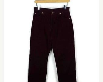 ON SALE Vintage LEVI'S Burgundy Corduroy Pants/W26/Straight leg/1970's