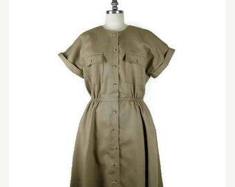 ON SALE Vintage Beige Button down Short Sleeve Casual Dress from 90's