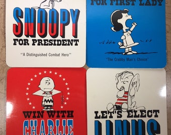 4 Peanuts Oversized Postcards Snoopy For President and More