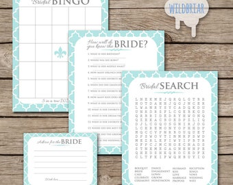 Printable Bridal Shower Games Pack of 4, Word Search, how well do you know bride quiz, Bingo board, Advice cards teal blue; INSTANT DOWNLOAD