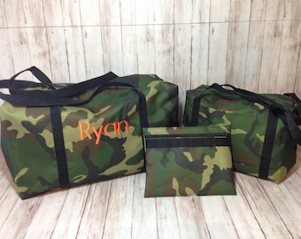 Camouflage duffle bag/ Personalized camo duffle in three sizes / travel bag/camp bag/beach/ sleepover