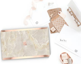 Breccia Beige Marble and Rose Gold Edge Hard Case for Apple Macbook Air Macbook Pro Retina New Macbook Pro Touch - Platinum Precious Stones