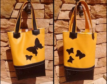 Yellow black Tote Butterfly patterns
