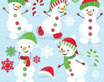 80% OFF SALE Happy Snowman clipart commercial use, vector graphics, digital clip art, digital images  - CL619