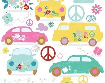 80% OFF SALE hippie cars clipart commercial use,  vector graphics, digital clip art, digital images - CL636