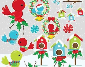 80% OFF SALE Christmas birds clipart commercial use, christmas birds vector graphics, clipart, holiday clipart  - CL1047