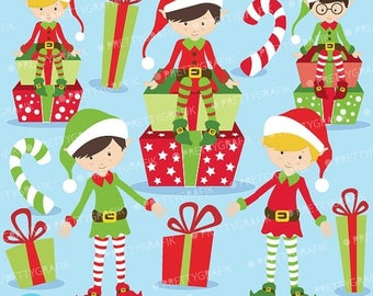 80% OFF SALE 80 Percent 0FF Sale Christmas Elves boys clipart commercial use, vector graphics, digital clip art, digital images  - Cl599