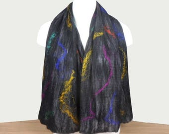 Black nuno felted scarf, merino wool on silk with coloured silk embellishment