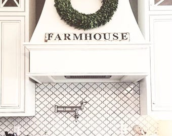 FARMHOUSE Sign Salvage Barn Wood White Chippy Paint Farmhouse Decor Wall Reclaimed Rustic Architectural Painted Sign Fixer Upper Decor