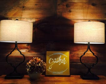 Gather | dining room | handpainted sign | home decor | sign | hand made gift | wreath |