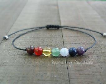 7 chakras string bracelet healing bracelet minimalist jewelry chakra bracelet yoga jewelry energy bracelet