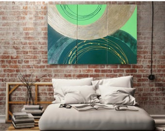 Emerald green gold Large paintings 100x150x2 cm original abstract art acrylic on stretched canvas art glossy metallic textured wall art