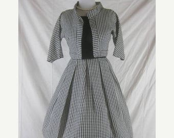 On sale Vtg 50s 60s Black White Womens Vintage Hounds Tooth Party Dress Set W 24