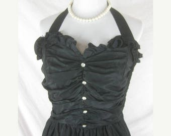 On sale Vtg 50s 60s Black Womens Vintage Full Skirt Halter Party Dress W 28