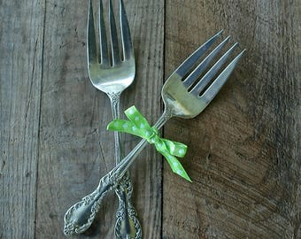 One Antique Wm A Rogers Mfg. Co. Silver Plate, Extra Plate Serving Fork, Godetia Pattern,  1912