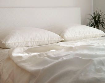 Linen Bedding -  duvet cover and pillowcases, ivory or white linen bedding