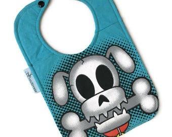 Upcycled Tee Shirt Bib • Dog Skull Bib • Baby Bib • Baby Shower Gift • Skull Baby Gift • Tshirt Bib