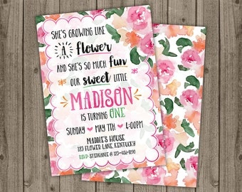 Butterfly Flower Garden Birthday Party Invite - Garden Party Birthday - First Birthday Invite - 5x7 JPG DIGITAL FILE (Front and Back Design)