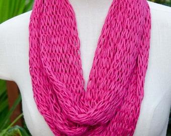 Knit Infinity Scarf *Pink Loop Scarf *  Loop Scarf ~ Knit Cowl * OOAK Gift for Her * Teen Scarf * Soy Silk Yarn