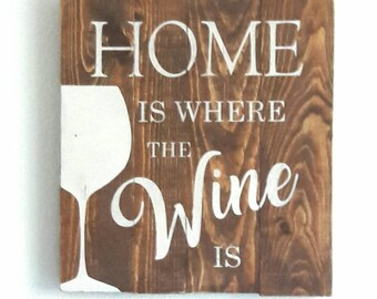 "Decor - ""Home Is Where The Wine Is"" - Wood Sign - appx 13""x14"""