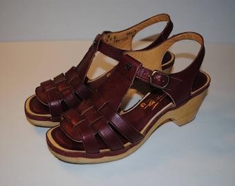 Aigner, Sandals, Platform, Etienne Aigner, Vintage, Women's, Shoes, Boho, Original, Cordovan, Maroon, Leather, Wood,