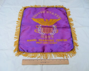 Vintage U.S. Naval Training Center, Great Lakes, IL, Gold-Fringed Purple Satin Pillow Cover