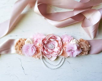 Champange,pink, Maternity Sash, wedding  photography prop Maternity belt, Pregnancy sash, Flower sash, maternity clothing ,sash