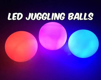 Color Strobing LED Juggling Balls - Great Beginner Set - 6 Modes