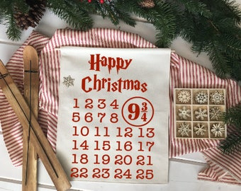Wizard 9 3/4 Advent Calendar Countdown/ Happy Christmas/ Christmas wall decor/ christmas decoration/ wall hanging/ farmhouse christmas