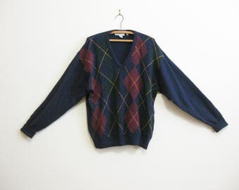 Irish Argyle Wool Sweater IRELAND XL - LL Bean 1980s Blue Sweater Burgundy