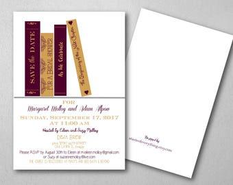 Bridal shower invitation, Book theme,Wine, burgundy, gold, fall theme, merlot, wedding shower, baby shower, wedding invitation couple shower