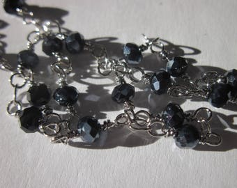 0.20 m chain silver metal trimmed glass (U2) beads