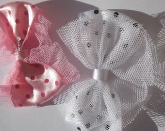 2 big bows fabric and tulle 6.5 cm long approx (A224)