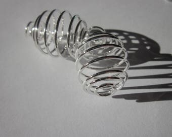 2 cages for bead (1) bright silver metal