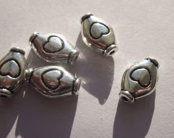 4 oval pearls reversible patterned heart metal - 11 mm (15)
