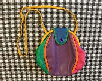 1990's, colorblock, leather purse, in purple, blue, green, pink, orange and yellow