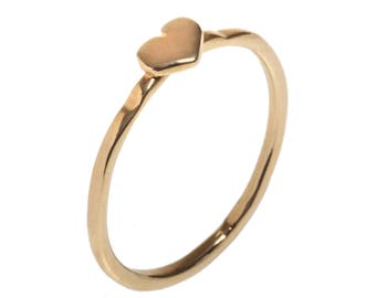 Stacking Ring, Tiny Dainty Delicate Heart Ring, Small Heart Stacking / Knuckle Ring, Available in - Gold Plated Brass or Sterling Silver