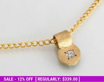 Bridal necklace, diamond necklace, 14k gold necklace, diamond pendant, small gold pendant, gold necklace dainty, anniversary gift, 14k gold